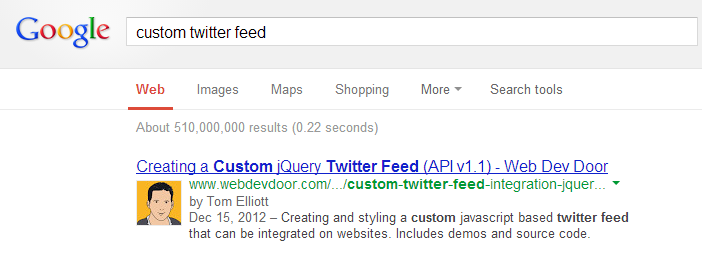 Authorship profile pic serps