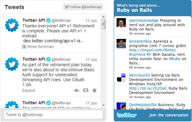 Twitter widgets API 1 and API 1.1
