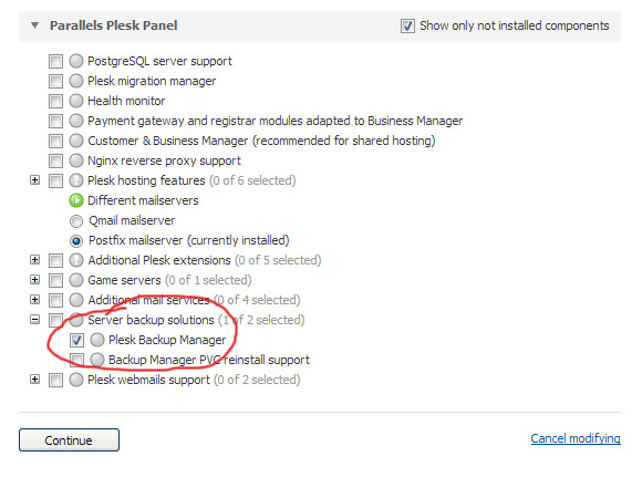 Add plesk backup manager component