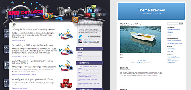 WordPress compare default theme