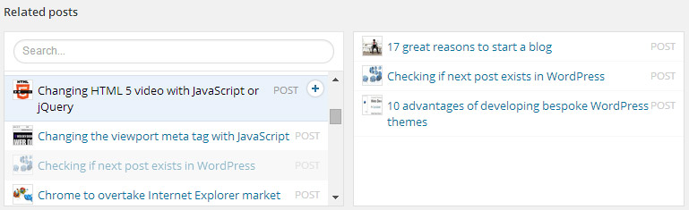Related posts lists using ACF