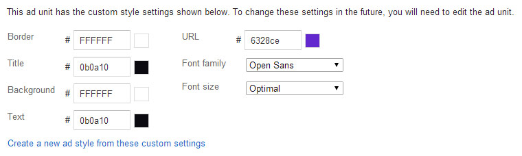 AdSense advert custom styles