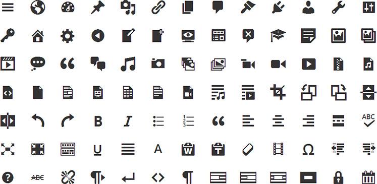 WordPress Dashicons icon fonts